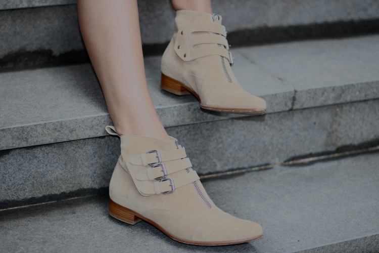 "Tabitha Simmons ""Early"" buckled suede ankle boots"