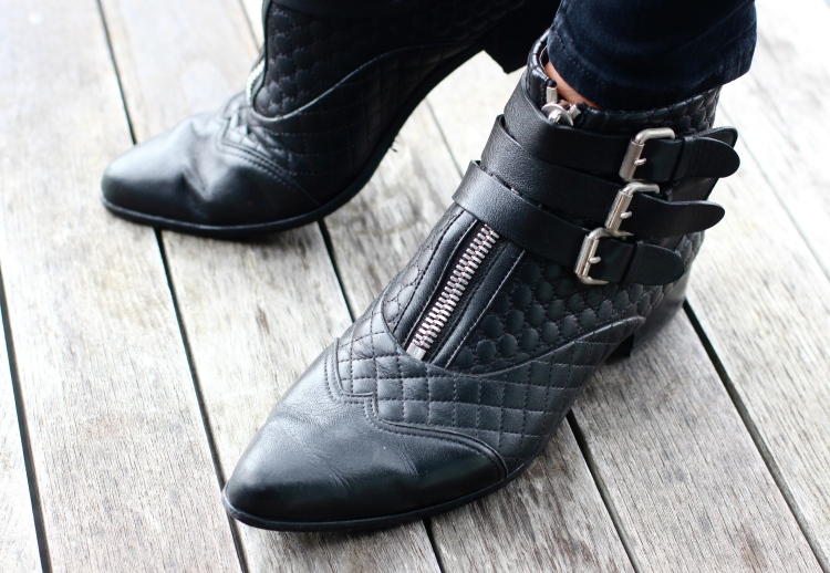 "Tabitha Simmons ""Early"" buckled quilted ankle boots"