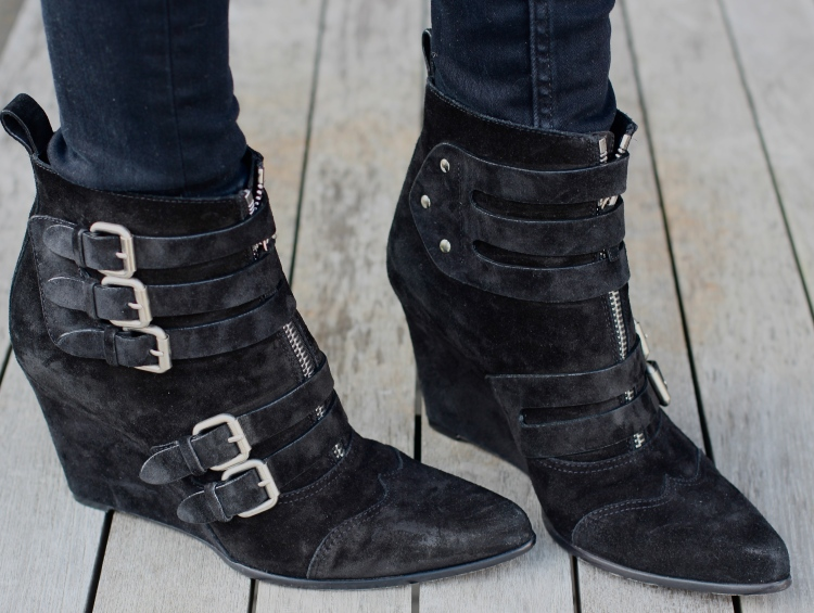 "Tabitha Simmons ""Early"" buckled suede wedge ankle boots"